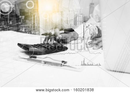 Double Exposure Of Recheck Document Or Planing Data For Business Market Target And About Accounting