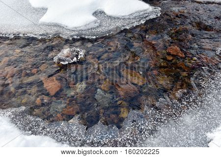 Frozen Ice Crystals Among A Small River
