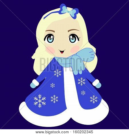 colored icon cute girl snow maiden. Christmas Pattern for decoration or making scrapbook sticker badge label. Baby vector illustration