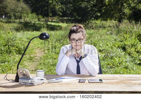 Portrait Of A Young Beautiful Business Woman, Office Outside