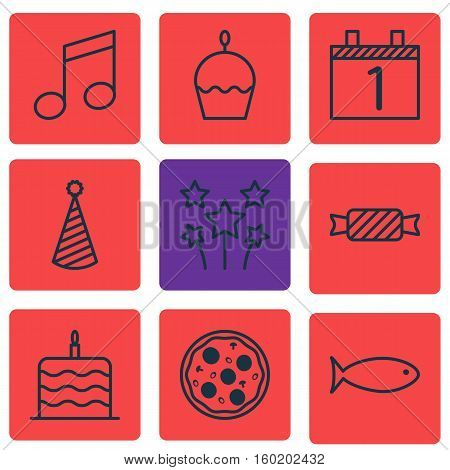 Set Of 9 Celebration Icons. Can Be Used For Web, Mobile, UI And Infographic Design. Includes Elements Such As Birthday, Cake, Agenda And More.
