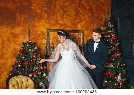 Winter Wedding .Lovers bride and groom in christmas decoration . Groom and bride together. couple hugging. Wedding day. Beautiful bride and elegant groom walking after wedding ceremony.
