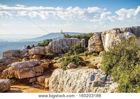 UPPER GALILEE ISRAEL - JANUARY 16: Mountain landscape view of the mountainous area of Upper Galilee Israel on January 16 2016