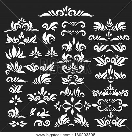 Set of hand drawn decorative elements in black and white. Headers deviders curves corners for ornamental page decor gift tag card.