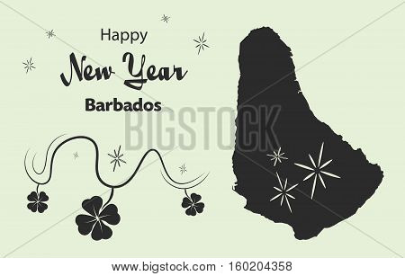 Happy New Year Illustration Theme With Map Of Barbados