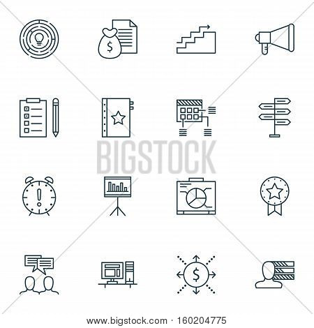 Set Of 16 Project Management Icons. Can Be Used For Web, Mobile, UI And Infographic Design. Includes Elements Such As Win, Growth, Task And More.