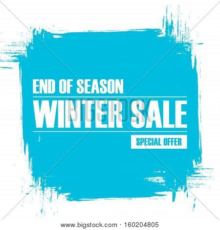 Winter Sale. End of season special offer banner with brush stroke background for business, promotion and advertising. Vector illustration.