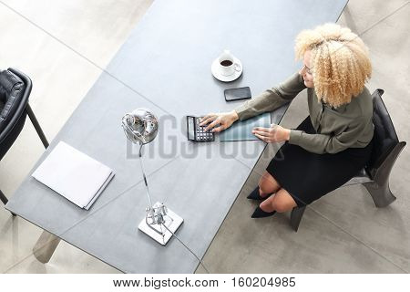 Household bills. Female summarizes expensesBusiness woman recorded expenses.