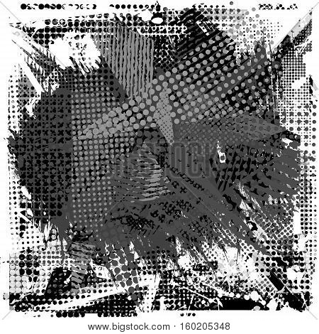 Paint stroke copy space on abstract urban pattern. Grunge texture background. Scuffed drop sprays, dots, splash. Urban modern dirty dark wallpaper. Fashion textile, sport fabric. Black white