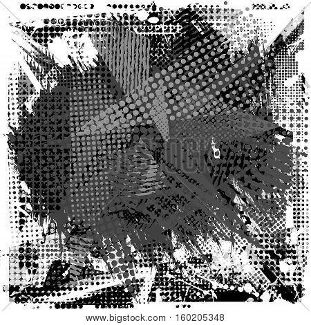 Paint stroke copy space on abstract urban pattern. Grunge texture background. Scuffed drop sprays, dots, splash. Urban modern dirty dark wallpaper. Fashion textile, sport fabric. Black white