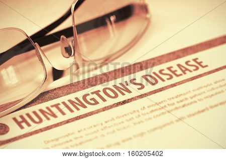Huntingtons Disease - Medicine Concept on Red Background with Blurred Text and Composition of Pair of Spectacles. 3D Rendering.