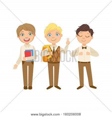 Boys In Brown Outfits Happy Schoolkids In Similar Collection School Uniforms Standing And Smiling Cartoon Character. Part Of Primary School Students In Dress Code Clothing Set Of Vector Illustrations.