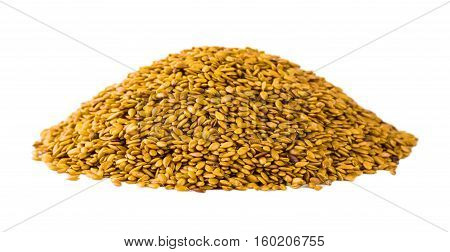 Golden linseed, isolated on the white background
