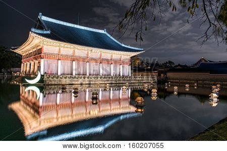 Seoul South Korea - September 29 2016 : Gyeongbokgung Gyeonghoeru in the palace in Seoul at Night South Korea.