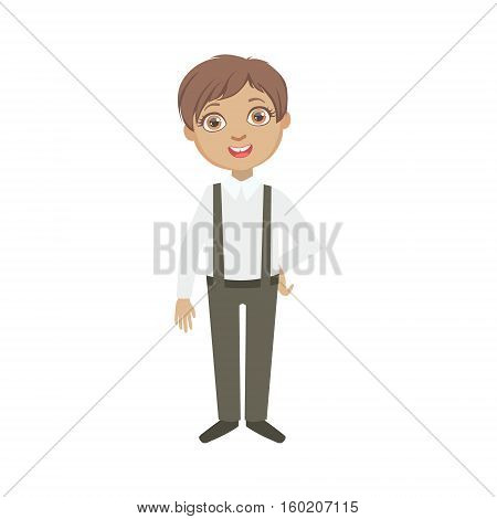 Boy In Black Pants With Suspenders Happy Schoolkid In School Uniform Standing And Smiling Cartoon Character. Part Of Primary School Students In Dress Code Clothing Set Of Vector Illustrations.
