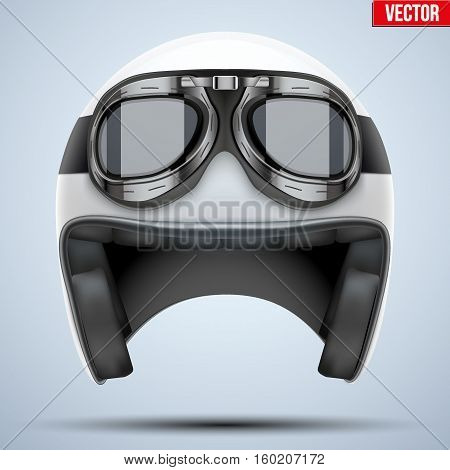 White motorcycle classic helmet with goggles. Transportation industry. Vector illustration isolated on background,