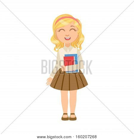 Girl In Brown Skirt Holding Books Happy Schoolkid In School Uniform Standing And Smiling Cartoon Character. Part Of Primary School Students In Dress Code Clothing Set Of Vector Illustrations.