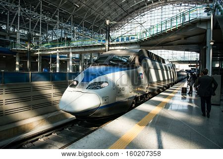Gwangmyeong-si, South Korea - November 2, 2016: High-speed Bullet Trains (ktx) And Korail Trains Sto