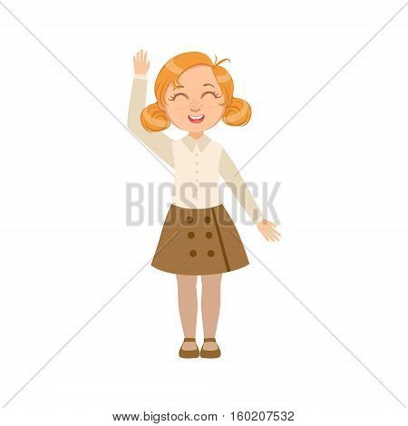 Girl In Brown Skirt And Vest Happy Schoolkid In School Uniform Standing And Smiling Cartoon Character. Part Of Primary School Students In Dress Code Clothing Set Of Vector Illustrations.