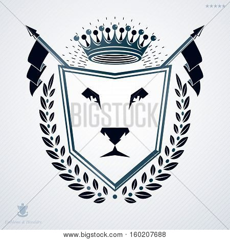 Luxury heraldic vector template. Vintage blazon created using lion head illustration and imperial crown