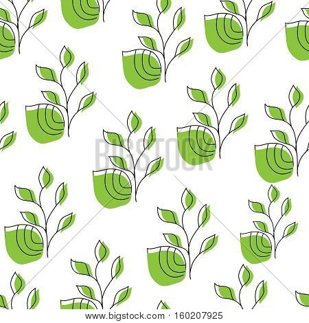 Seamless with leaves. Vector pattern on white background.
