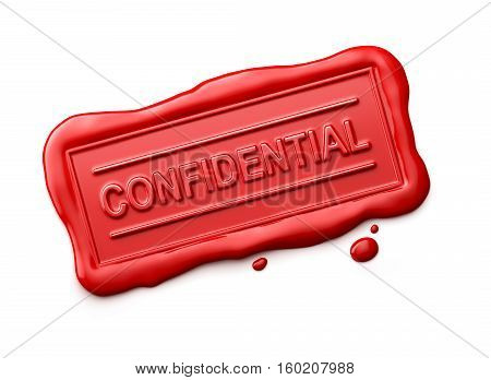 Wax seal with Confidential word isolated on white background - 3D Rendering