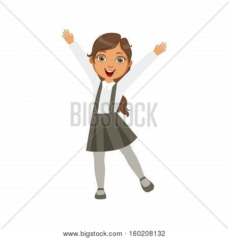Girl In Black Skirt With Suspenders Happy Schoolkid In School Uniform Standing And Smiling Cartoon Character. Part Of Primary School Students In Dress Code Clothing Set Of Vector Illustrations.