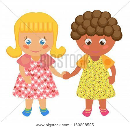 Vector cartoon cute girls holding hands. Isolated.