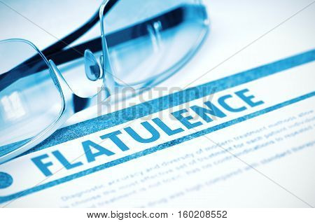 Diagnosis - Flatulence. Medicine Concept on Blue Background with Blurred Text and Pair of Spectacles. Selective Focus. 3D Rendering.