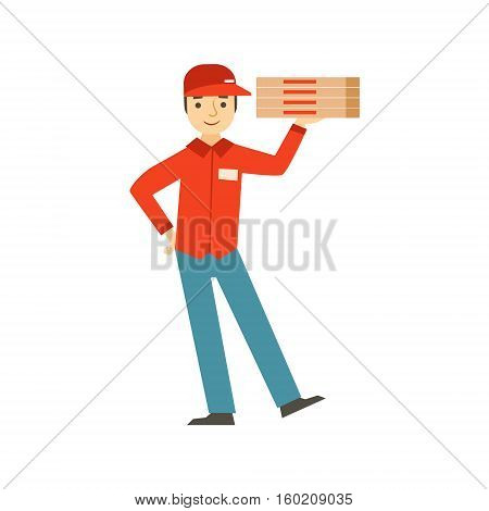 Guy Delivering Pizza, Part Of Italian Fast Food Cuisine Restaurant Takeout Delivery Service Collection Of Illustrations. Cartoon Vector Colorful Drawing On White Background.