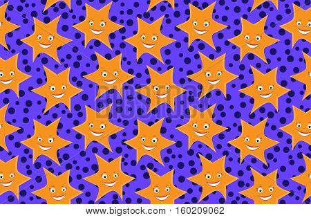 Seamless from cartoon stars on violet background.