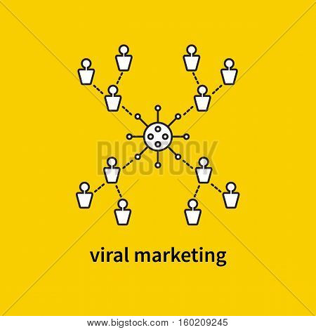 Viral marketing. Vector icon. Symbol of communication online. Advertising company in social networks. Scheme of information dissemination. Connection between users in group. Media campaign in internet