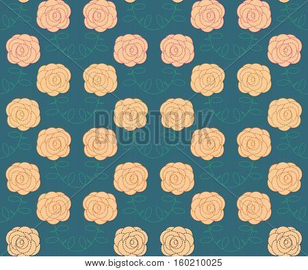 Seamless with roses on blue. Vector floral pattern.