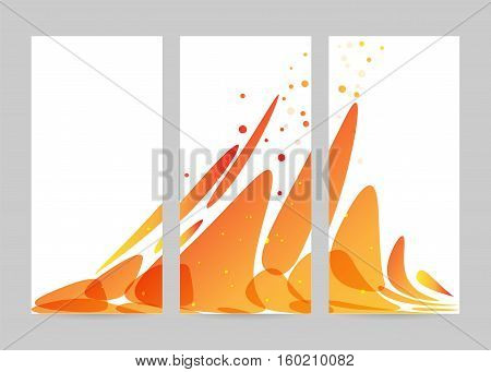 Set abstraction orange flow on white background trifold banner