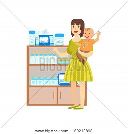 Woman With A Baby Shopping For Baby Food, Shopping Mall And Department Store Section Illustration. Person Standing Next To Supermarket Showcase With Goods On The Shelf Smiling Cartoon Character.