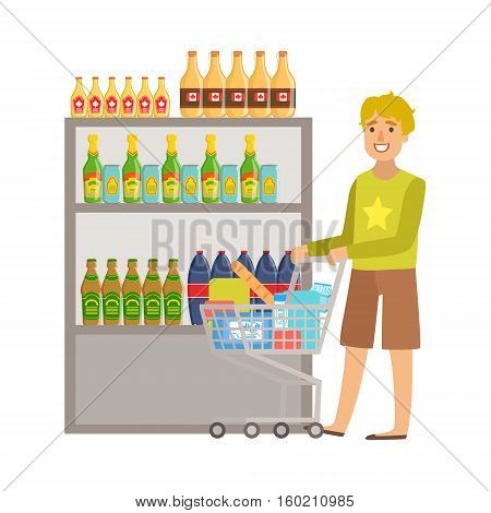 Guy Shopping For Alcoholic Drinks, Shopping Mall And Department Store Section Illustration. Person Standing Next To Supermarket Showcase With Goods On The Shelf Smiling Cartoon Character.