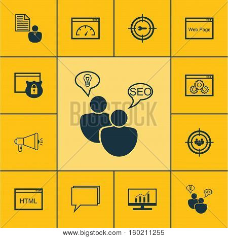 Set Of 12 Advertising Icons. Can Be Used For Web, Mobile, UI And Infographic Design. Includes Elements Such As Website, Brief, Comprehensive And More.