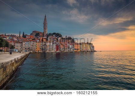 Rovinj. Beautiful romantic old town of Rovinj during sunset,Istrian Peninsula,Croatia,Europe.
