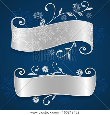 Abstract scrolled banner on blue background with snowflake shapes. Vector illustration.