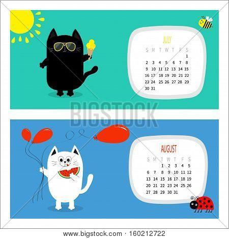 Cat horizontal calendar 2017. Cute funny cartoon white black character set. July August hello summer month. Ice cream yellow sun shining sunglasses. Red balloon watermelon fruit. Flat design Vector