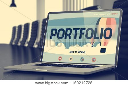 Modern Meeting Hall with Laptop Showing Landing Page with Text Portfolio. Closeup View. Blurred Image with Selective focus. 3D Illustration.