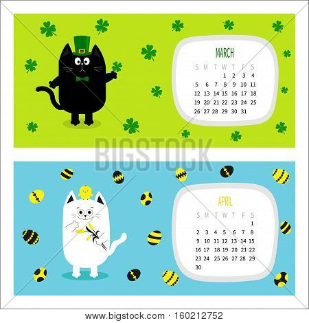 Cat horizontal calendar 2017. Cute funny cartoon character set. March April spring month. Green hat tye bow chicken egg. Hanging clover leaf tulip flower. Happy Patricks day Easter Flat design Vector