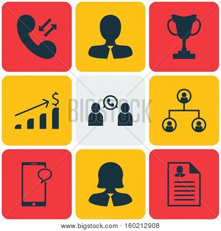 Set Of 9 Hr Icons. Can Be Used For Web, Mobile, UI And Infographic Design. Includes Elements Such As Profile, Resume, Mobile And More.