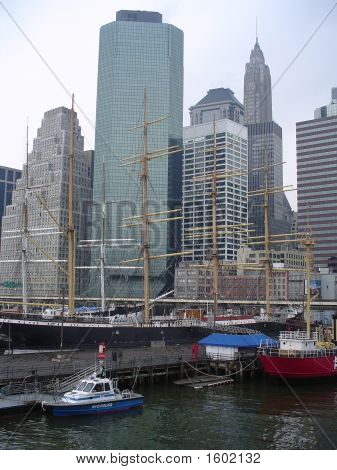 Nypd Boat And Skyline At South Street Seaport