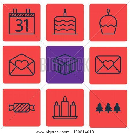 Set Of 9 Celebration Icons. Can Be Used For Web, Mobile, UI And Infographic Design. Includes Elements Such As Schedule, Caramel, Xmas And More.