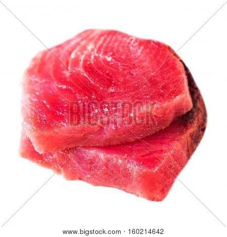 Tuna steak isolated white background close up. Seafood concept