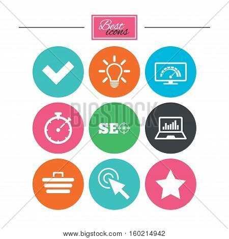 Internet, seo icons. Bandwidth speed, online shopping and tick signs. Favorite star, notebook chart symbols. Colorful flat buttons with icons. Vector