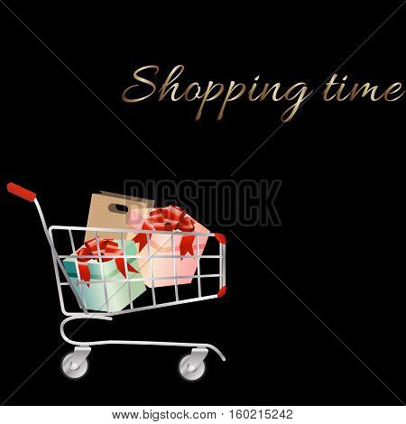 Shopping cart full of shopping bags and gift boxes. A contemporary style. Vector design illustration on a black background.