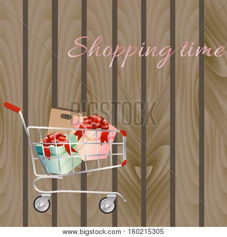 Shopping cart full of shopping bags and gift boxes. A contemporary style. Vector design illustration on a wooden background.
