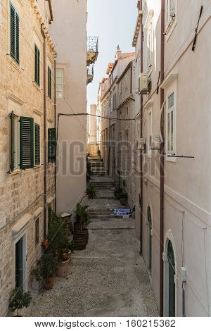 A Side Street And Alley In Dubrovnik In Croatia